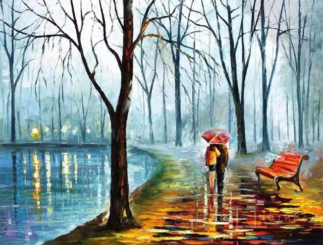 В парке под дождем, художник Леонид Афремов